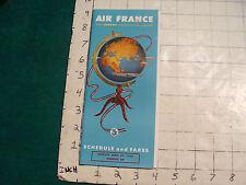 vintage HIGH GRADE travel brochure: AIR FRANCE --APR 25, 1954-SCHEDULE & FARES