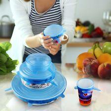 6PCS Reusable Silicone Stretch Lids Food Pack Wrap Bowl Cover Pot Pan Cooking
