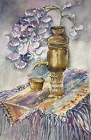 "ORIGINAL ART Watercolor Painting Purple Floral Joan Perry (1928-2019) 24""h X 18"""