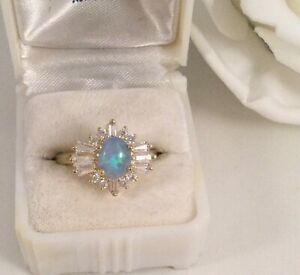 Vintage Jewellery Gold Ring Blue Opal White Sapphires Antique Deco Jewelry sz P