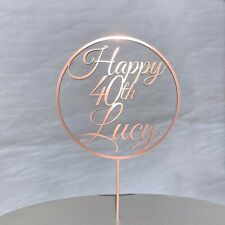 Circle Personalised Birthday Cake Topper add ANY Age and Name.Modern Hoop Design