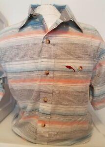 NEW Bob Timberlake Men's Striped Short Sleeve Button Up Shirt Size Large