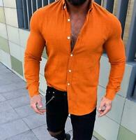 Men's Linen Long Sleeve Shirt Summer Cool Loose Casual V-Neck Shirts Tops Plus