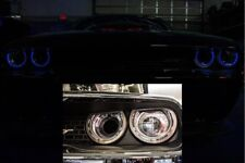 Blue LED Halo Headlight Rings for 2015-2018 Dodge Challenger (Brushed Stainless)