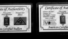 Acb Platine et Palladium 5GRAIN Lingot Barres Certificat D'Authenticité $
