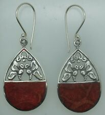 Handcrafted Red Coral Dangle Earrings in 925 Sterling Silver #A29