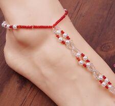Elastic Bead Barefoot Sandal Anklet Bracelet Foot Ankle Chain Toe Ring PP1