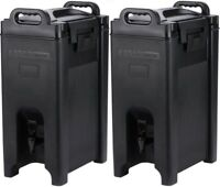 2 PACK 5 Gallon Black Insulated Hot Cold Beverage Drink Dispenser Cooler Coffee