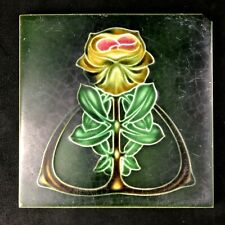 "🟢 Antique Henry Richards Pottery Art Nouveau Majolica Peony 6"" Tile c. 1908 *B*"