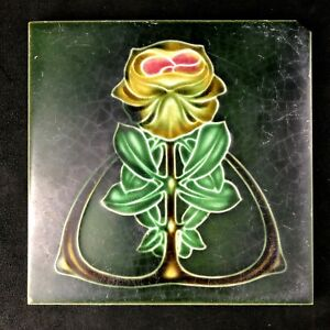 "🟢 Antique Henry Richards Pottery Art Nouveau Majolica PEONY 6"" Tile c. 1908 *B*"