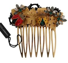 NEW $1000 DOLCE & GABBANA Comb Gold Crystal Ladybug Floral Hair Stick Accessory