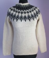 VTG Ladies Unbranded Cream/Black/Grey Wool Mix Nordic Style Jumper Size XS (b76)