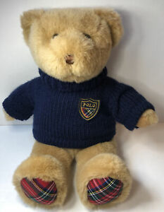 "2008 Ralph Lauren Polo Plush Teddy Bear Blue Sweater 15"""