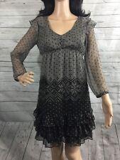 Esprit Dress Size 2 Semi-Sheer Gray Black Chiffon Snowflake Design Sexy Style XS