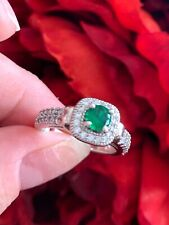 Vintage Emerald Cocktail Ring in Platinum White Gold Tone