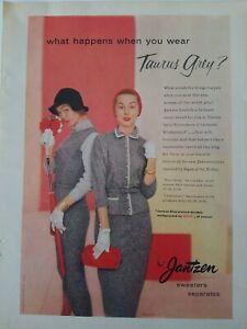 1955 Jantzen women's Taurus gray sweaters possibly Jean Patchett vintage ad