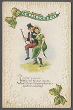 St. Patrick's Day Dancing Couple Shillelagh 1913 Vintage Postcard - C665