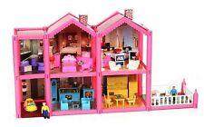 Großes Puppenhaus +Puppen +Möbel Puppenstube Spielhaus Dollhouse Spielzeug
