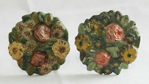 Pair of Old Antique HUBLEY Multicolor Floral Pattern CAST IRON CURTAIN TIE BACKS