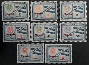 """RARE 1939 Honduras set of 8 Official postage stamps """"MUESTRA"""" O/P Mint"""