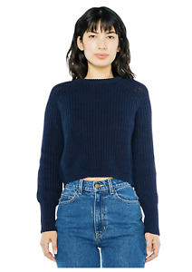 American Apparel Women Cropped Fisherman Long Sleeve Pullover Color: Navy