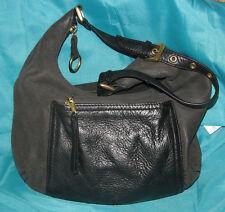 Stone Mountain Soft Black nubuck &  Pebbled Leather Hobo/Shoulder Bag