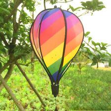 "55 "" Hot Air Balloon Rainbow Stripe Wind Spinner Outdoor Garden Yard Decor Gifts"