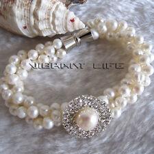 "8"" 5-6mm 3Row White Freshwater Pearl Bracelet Magnetic Clasp XZ UE"
