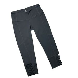 ATHLETA Womens Mind Over Mat Capri Leggings Size XS Black Lattice Ankle Crop