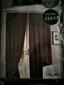 Luxury Fully Lined Pencil Pleat Curtains Pair Jacquard Blackish  50% Plus off