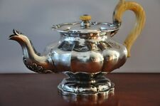 Stunning sterling silver teapot, melon shaped,  date 1847