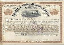 Vintage 1883 Mobile and Ohio Railroad Certificate with Steam Locomotive
