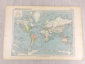 1888 Antique French Map of Voyages of Discovery Exploration Historical World