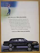 1990 Lincoln Town Car jack nicklaus golfing photo vintage print Ad