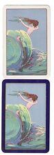 VINTAGE MERMAID IN THE WAVES  (2)  swap/playing cards