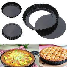6'' Flan Tin Tart Pie Pan Fluted Cake Baking Tray Non Stick Loose Base Mold E7CX