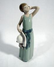 Lladro Figur Mädchen mit Hut und Rose Porzellan Handmade in Spain 1978