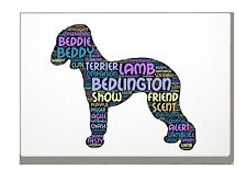 More details for bedlington terrier art print word art a4 a3 mothers day gift personalised option
