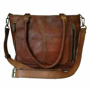 Women Handmade Vintage Leather Tote Handbag Shoulder Purse Satchel Shopping Bag