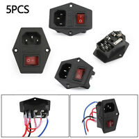 5PCS 220V/110V Power Supply Cambiar AC Power Outlet Socket Fuse para 3D Printer,