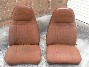 Chrysler Valiant CL Regal Reclining Bucket Seats, C1 Saddle Brown Cloth/Vinyl