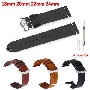 Homme Remplacement Bracelet de Montre en Cuir Vintage Bande de Montre 18-24mm