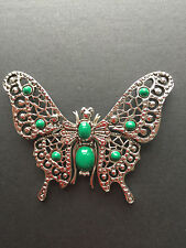 NEW ST JOHN KNIT WOMENS DESIGNER JEWELRY GREEN & SILVER BUTTERFLY PIN CRYSTALS