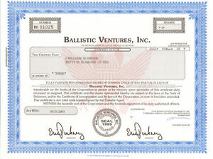 Ballistic Ventures > River Capital Group reinsurance company stock certificate