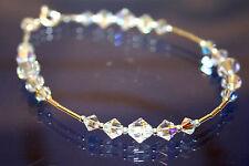 made with SWAROVSKI ELEMENTS Crystal AB Handmade Bracelet Bridal Sterling Silver