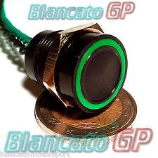 PULSANTE PIEZOELETTRICO 16mm NERO LED VERDE 12V auto piezo switch interruttore