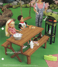 """""""PICNIC TABLE & GRILL""""~Plastic Canvas PATTERN ONLY fits BARBIE FASHION DOLL"""