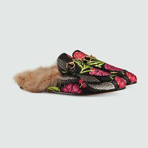 Gucci Princetown Horsebit Loafers Floral Leather Slides Fur 454613 Black 14463E