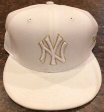 New York Yankees MLB New Era Size 7 5/8 Fitted Hat 9 Fifty White Gold Genuine