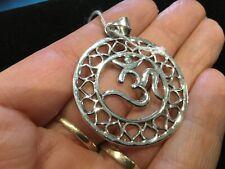 Large 925 Sterling Silver OM Hindu Yoga Spiritual Symbol  Pendant